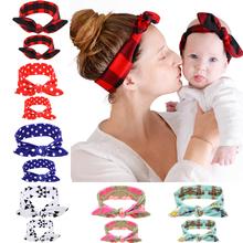 2 Teil/satz Mom Baby Hasenohren Haarschmuck Fliege Baby Stirnband Haarband Stretch Knoten Bogen Baumwolle Stirnbänder Haar zubehör(China (Mainland))