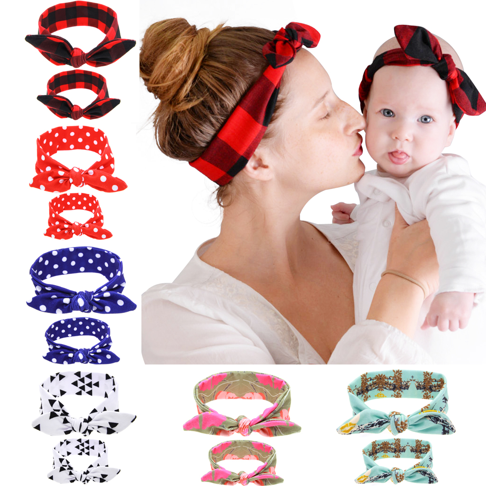 2PC/Set Mom Baby Rabbit Ears Hair Ornaments Tie Bow Baby Headband Hair Hoop Stretch Knot Bow Cotton Headbands Hair Accessories(China (Mainland))