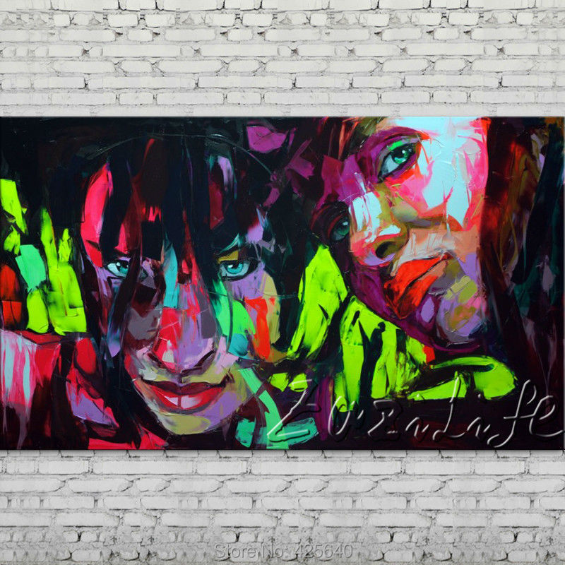 Buy Palette knife portrait Face Oil painting Character figure canvas Hand painted Francoise Nielly wall Art picture 76 cheap