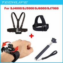 Go Pro Chest Belt + Head Belt + Monopod + Hand Wrist Strap Arm Belt For Gopro action camera