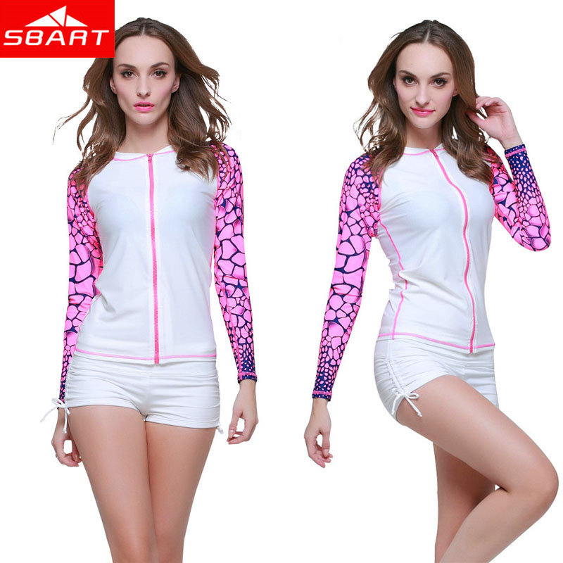 SBART 1 Pcs Women's White Long Sleeve Swim Shirt OF Surf Clothing Womens Rash Guard Swimwear For Beach Sun Suits Top New Arrival(China (Mainland))