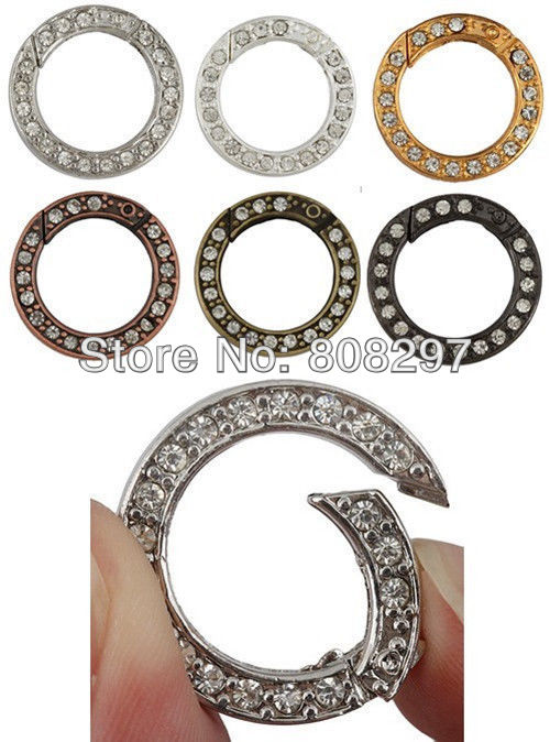 30pcs Mixed Color Crystal Spring Ring Clasps Connector Diameter 16.5mm <br><br>Aliexpress