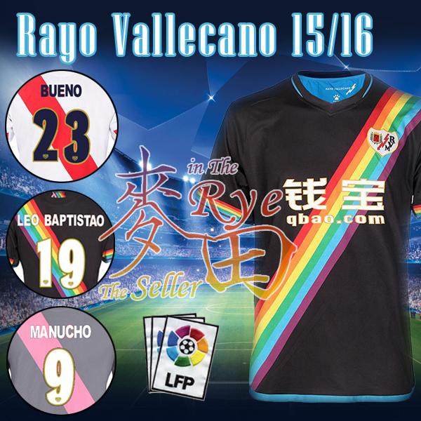 New 2016 Rayo Vallecano Camiseta 2015 Football Shirt LEO BAPTISTAO BUENO ABDOULAYE Home Away Third White Red Black Grey Thailand(China (Mainland))