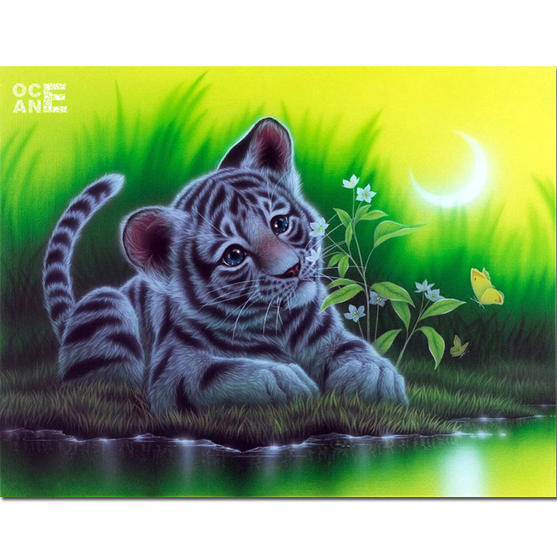 tiger river bank diy diamond embroidery animal 5d painting square mosaic arts C596 - Ocean Diamond Painting Factory Outlets store