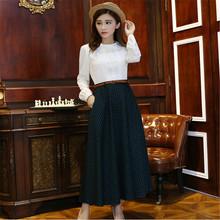 Retro Winter Women Plaid Skirt Slim High Waist Elegant Maxi Skirts Female All-Match Fashion A-Line Long Skirts C1211