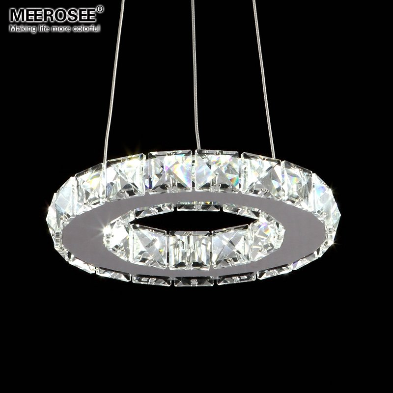 Silver crystal ring led chandelier crystal lamp light for Diy led chandelier