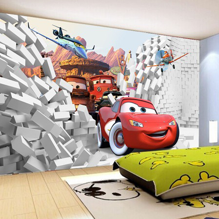 2016 custom 3d cars wall mural wallpaper papel de parede for Cars wall mural sticker