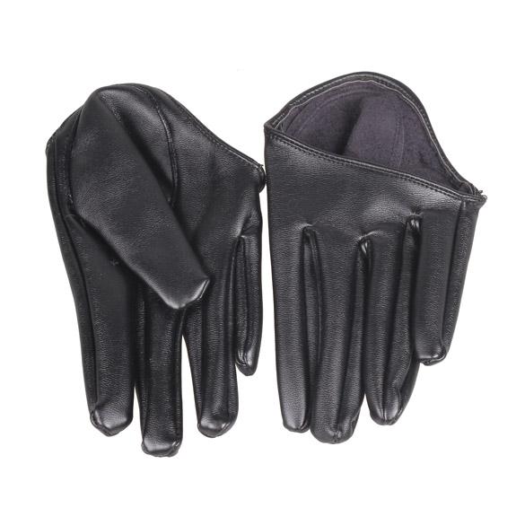 Гаджет  Fashion Hot Lady Woman Tight Half Palm Gloves Imitation Leather Five Finger Black None Одежда и аксессуары