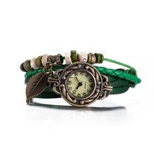Women Dress Watches Leaf Pendant Vintage Fashion Jewelry 5 Colors Leather Bracelets Bohemian Multilayer Braided Beads Men Bangle(China (Mainland))