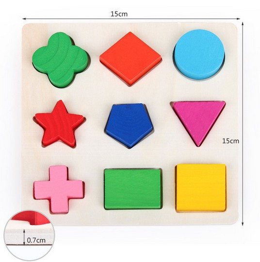 50% Off wooden toy 9 colors shapes shape jigsaw puzzle Kids Fun match game 1set free shipping(China (Mainland))
