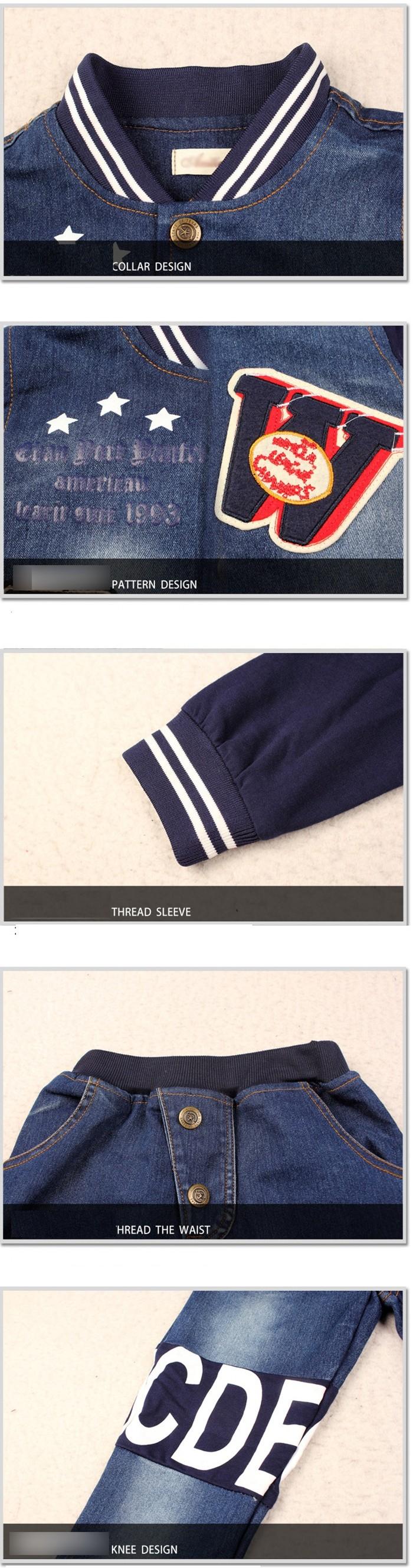 Spring Autumn Outwear Children Letter Print 2 Pcs Suit Boys Clothing Set Denim Coat and Pant Suit Kids Sport Suit for 5-13 Years