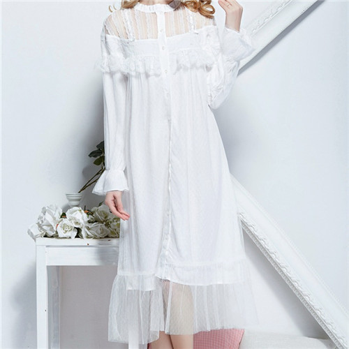 2016 White Sleep Lounge Women Sleepwear Indoor Clothing Long Nightgowns Sexy Lace Home Dress Vintage Nightdress With Mesh #P92Одежда и ак�е��уары<br><br><br>Aliexpress