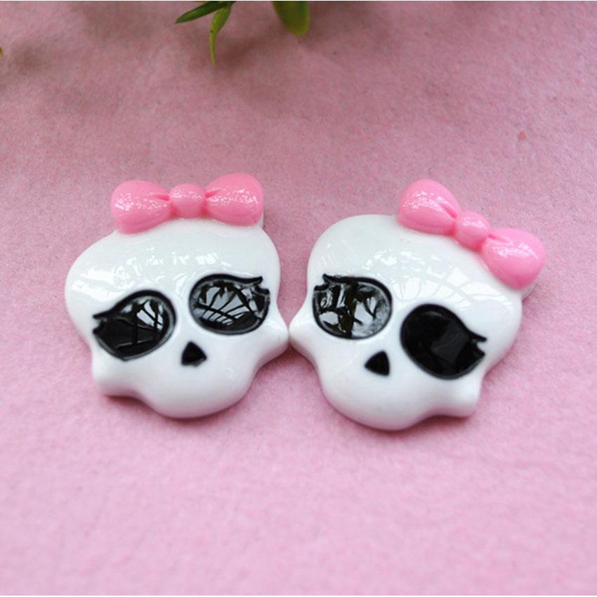10pcs/Lot Mix Colors skull Cabochons Botoes De Resina Cora Flat Back Resin For Girls DIY Phone Decoration(China (Mainland))