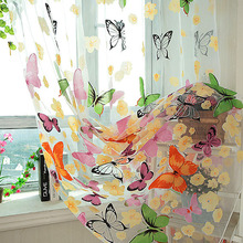 Butterfly Tulle Window Screens Sheer Voile Door Curtains Drape Panel or Scarf Assorted Curtain(China (Mainland))
