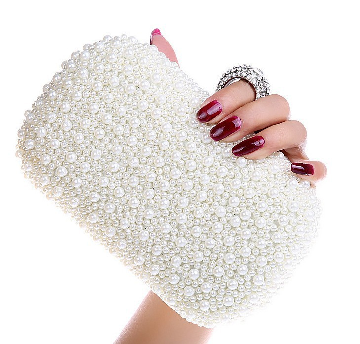 Free Shipping Best Gorgeous Bridal Bag Women's Beaded Bag Imitation Pearls Diamond Finger Ring Beads Party Clutch Purse  3977-5(China (Mainland))