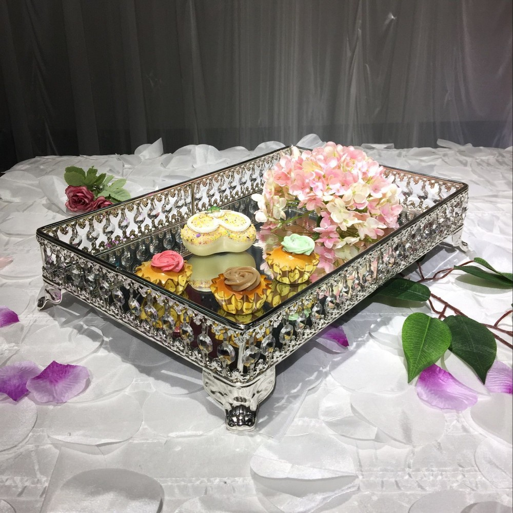 hot sale silver crystal trim square mirror cake stand fruit platewedding supplieshome decoration