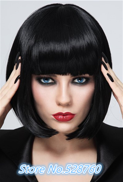Stylish Heat Resistant Synthetic Bob Style Neat Bang Black Short Straight Capless Womens Wig Free shipping<br><br>Aliexpress