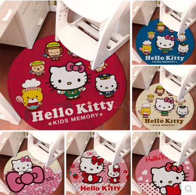 hello kitty flannel ground mat bedding set rugs carpet for living room doormat area rugs Circular cartoon mat for chair(China (Mainland))