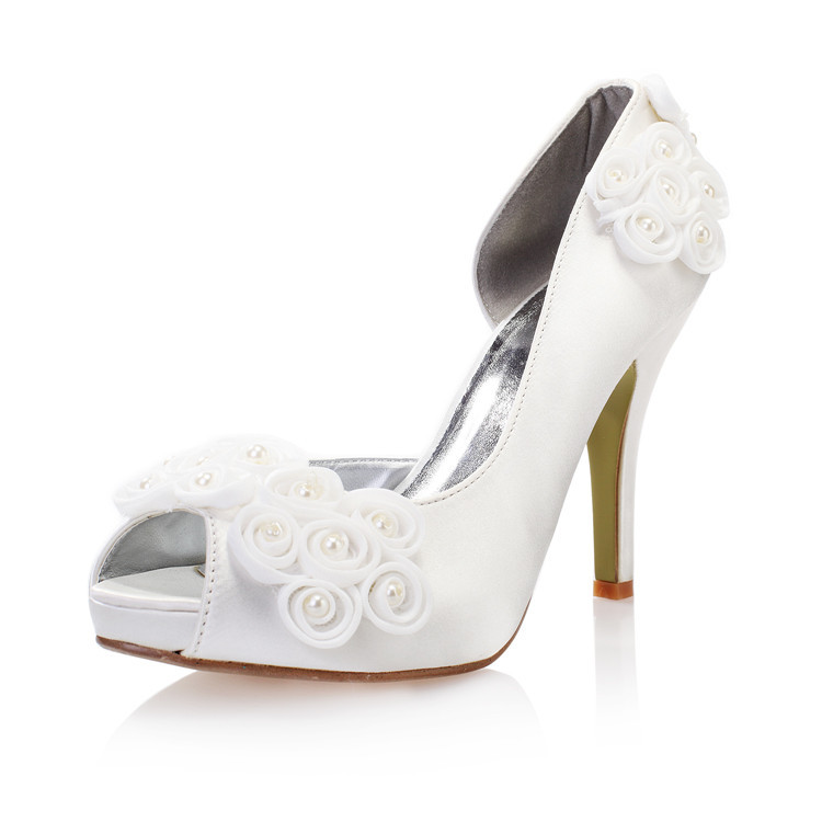 Buy 2015 new white color wedding shoes for Heels for wedding dress