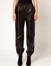 New 2015 Fashion Black Loose Harem Faux Leather Sweatpants Joggers Plus Size Pants High Street Fashion Women's Pants Six Size(China (Mainland))
