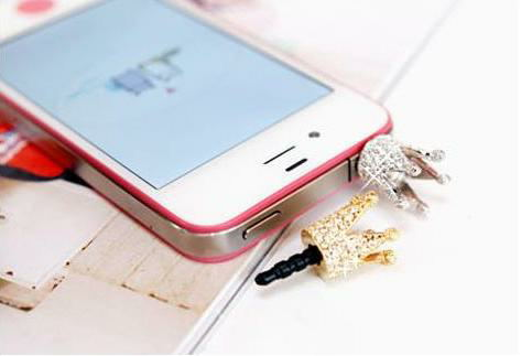 Free shipping ) accessories rhinestone small for apple mobile phone dust plug(China (Mainland))