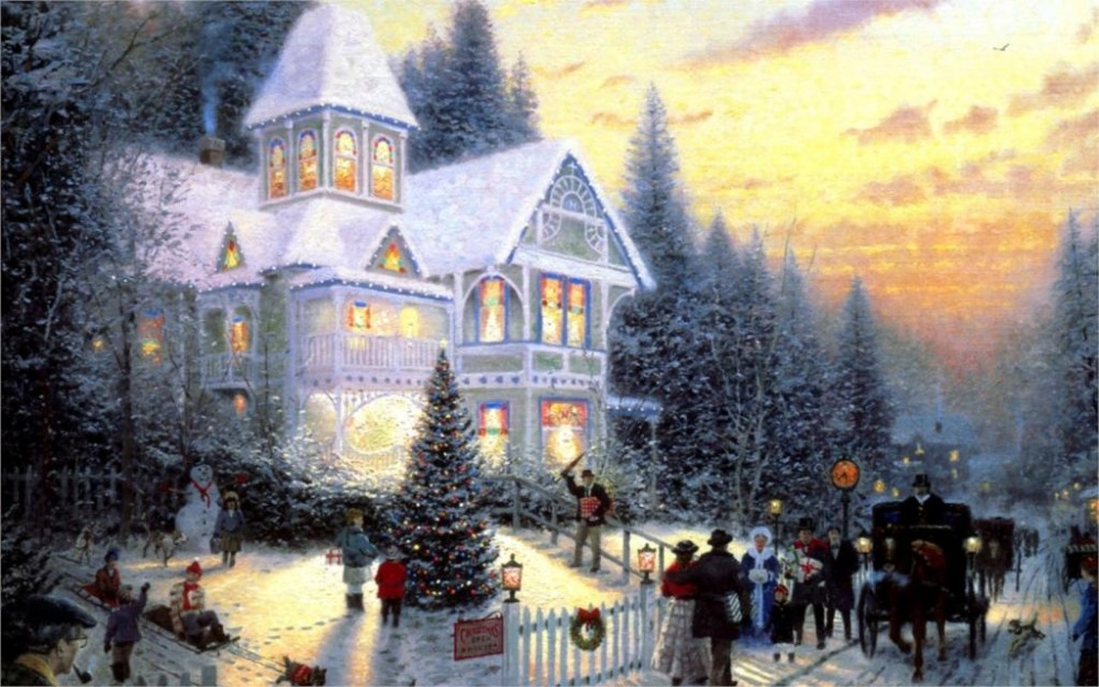 24X36 INCH / ART SILK POSTER / Paintings Victorian Christmas Thomas Kinkade cottage New Year Christmas Thomas(China (Mainland))