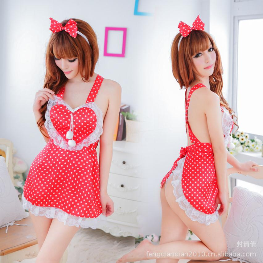 Sexy lingerie lovely red apron Super Meng maid maid uniforms temptation role playing suit(China (Mainland))