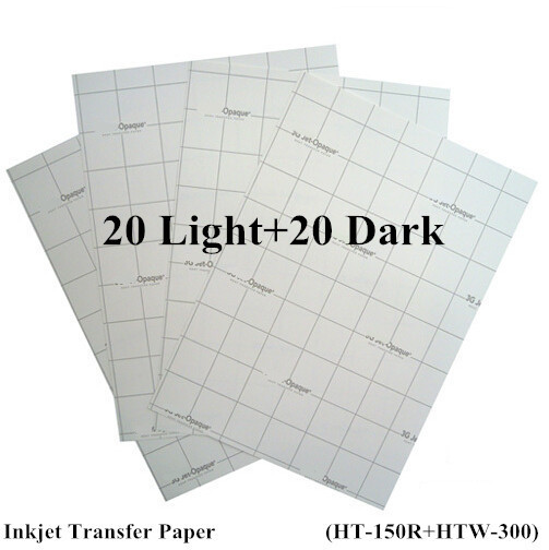 A4 Paper 40pcs=20pcs Light+20pcs Dark Inkjet Thermal Transfer Printing Paper Heat Transfers With Heat Press For T shirt Free