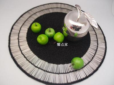 Royal luxury family mat jewelry handmade table accessories round beaded coaster mint green dining table mat gold taza te chino(China (Mainland))