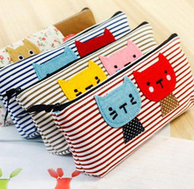 Free shipping Fashion Lovely Cartoon Kitty Cat Fish Flower Stripe Canvas Stationery Pencil Case Women Dress Cosmetic Pen Bag(China (Mainland))
