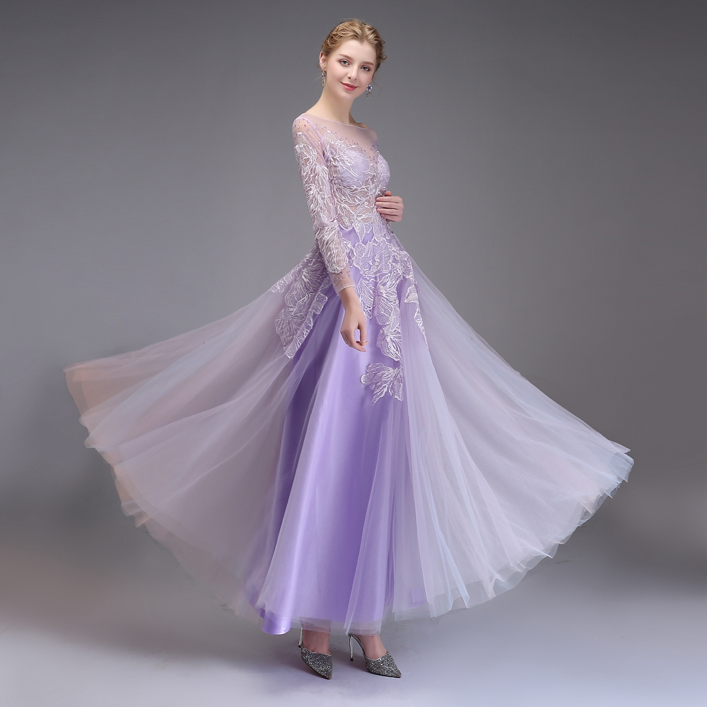 Ssyfashion New Banquet Elegant Evening Dress Beautiful Purple Long ...