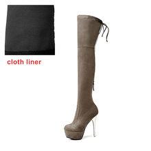 WETKISS 2018 Laatste Vrouw de Laars Flock Stretch Lange Boot Rits Stiletto Platform Schoenen Dame Hoge Hakken Big Size 43(China)