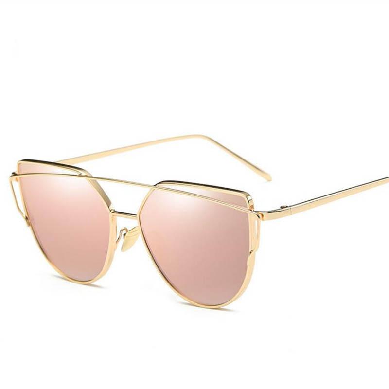 2017 Brand Retro Cat Eye Sunglasses Women Vintage Fashion Rose Gold Mirror Eye Glasses Unique Flat Ladies Eyewear Oculos UV400