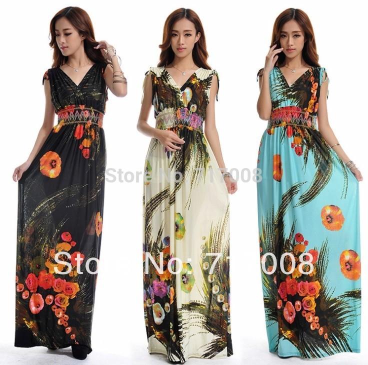 2015 new arrive fashion summer beach dress women high waisted halter ladies Long maxi bohemia plus size - Brand Big Size(M-6xl store Women's Clothing)