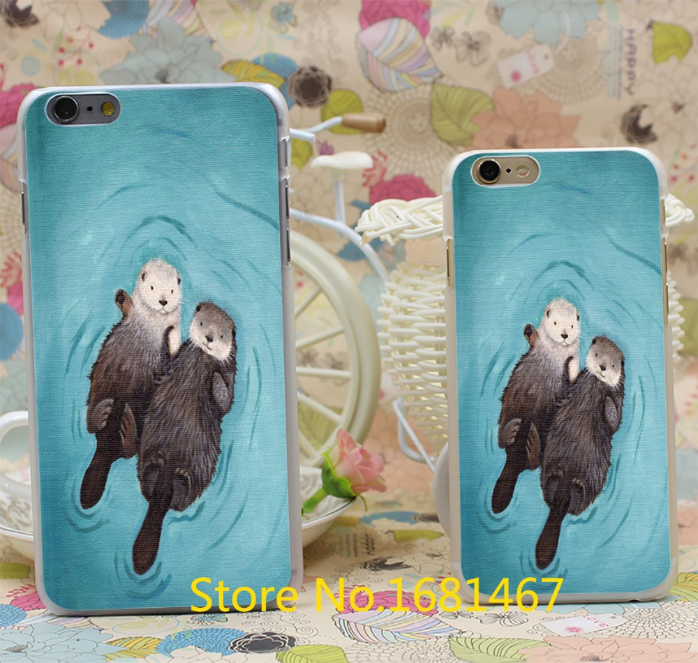 Romantic Otters Holding Hands cute otters Hard Clear Skin Transparent For iPhone 6 6s 6 plus 6+ Case Cover(China (Mainland))
