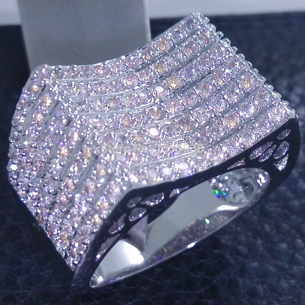 Victoria Wieck Majestic Jewellery 168pcs Topaz simulated diamond 10KT White Gold Filled Wedding band Ring Sz 5-10 Free shipping(China (Mainland))
