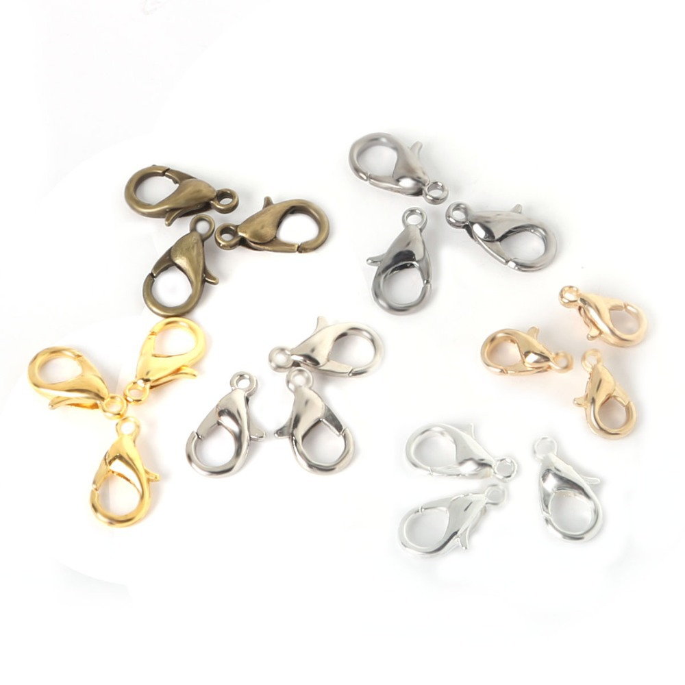 100pcs/lot Jewelry Findings 10mm Alloy bronze/gold/kc gold/gunblack/rhodium/silver Lobster clasp Hooks for necklace
