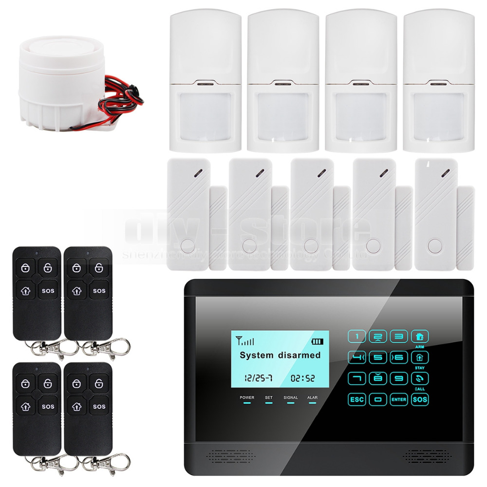 Здесь можно купить  Wireless and wired GSM home security inturder alarm system + 5 door sensor + 4 motion sensor + 4 remote control  Безопасность и защита
