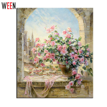 Frameless Window Flowers Scene DIY Painting By Numbers Kits paintings for living room wall Coloring Painting By Numbers