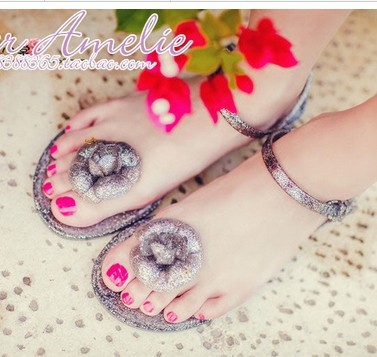 Summer shiny new plastic light trailers clip toe sandals women flat shoes fashion jelly shoes(China (Mainland))
