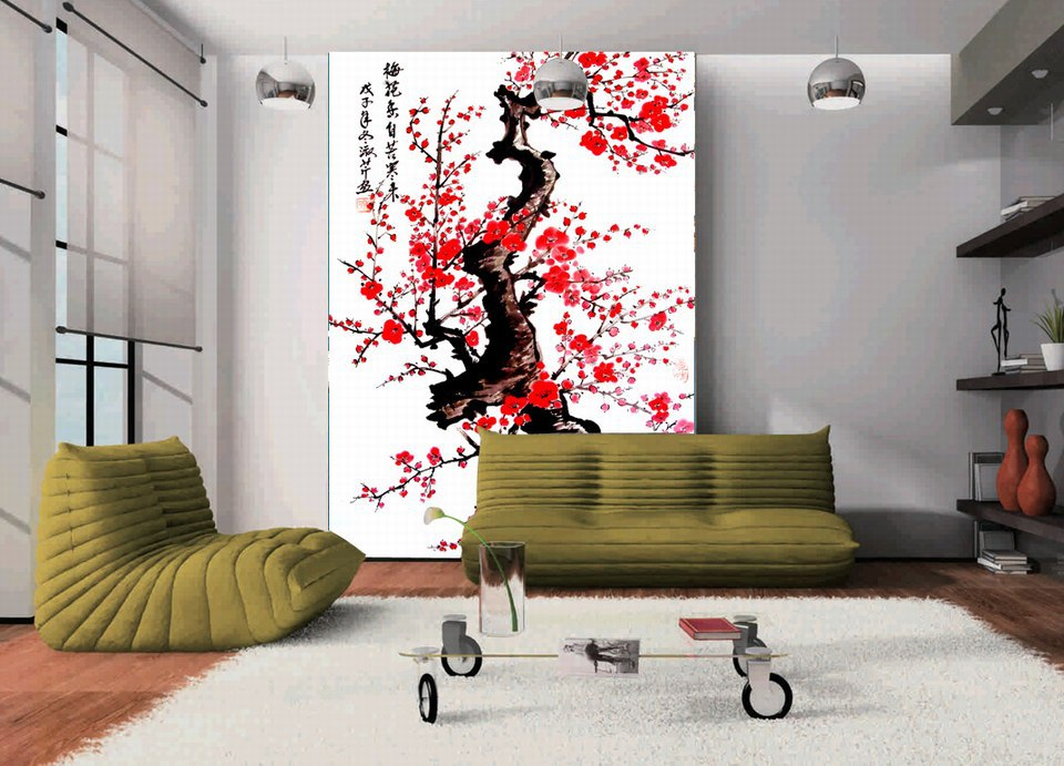 2016 home decor rushed sale printed blossom chinese for Home decoration images hd