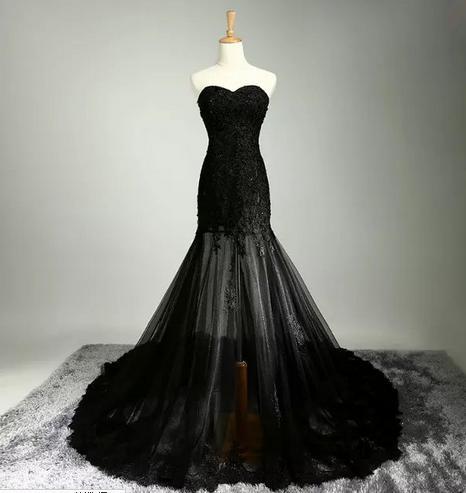 Специальный шнурок свадебные платья черный цвет русалка назад молния аппликации часовня поезд милая платья 100% реальный фото 2016