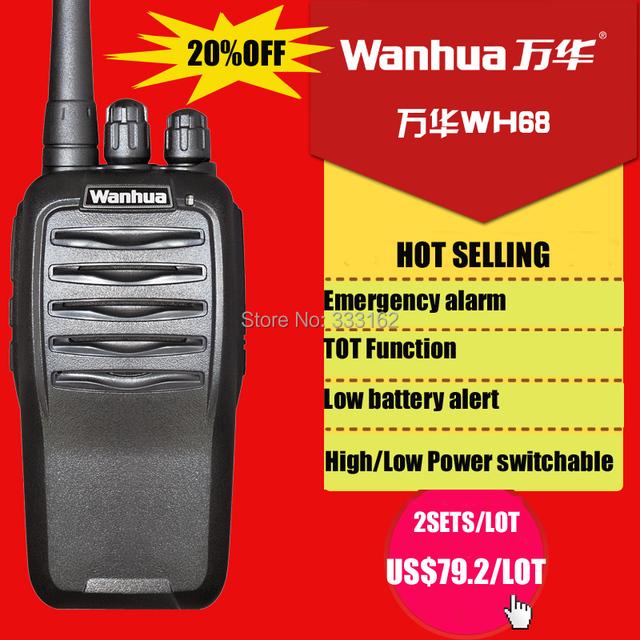 WH68 Free shipping handheld transceiver,  FM radio WANHUA walkie talkie