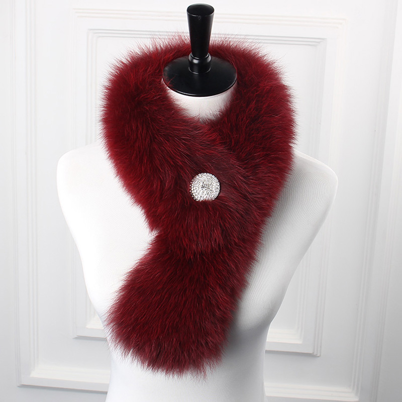 Fox Fur Scarf High Quality Genuine Fox Fur Neck Warmer Women Fox Fur Scarf Collar with Diamond Snap Fastern Winter Fox Fur Stole(China (Mainland))
