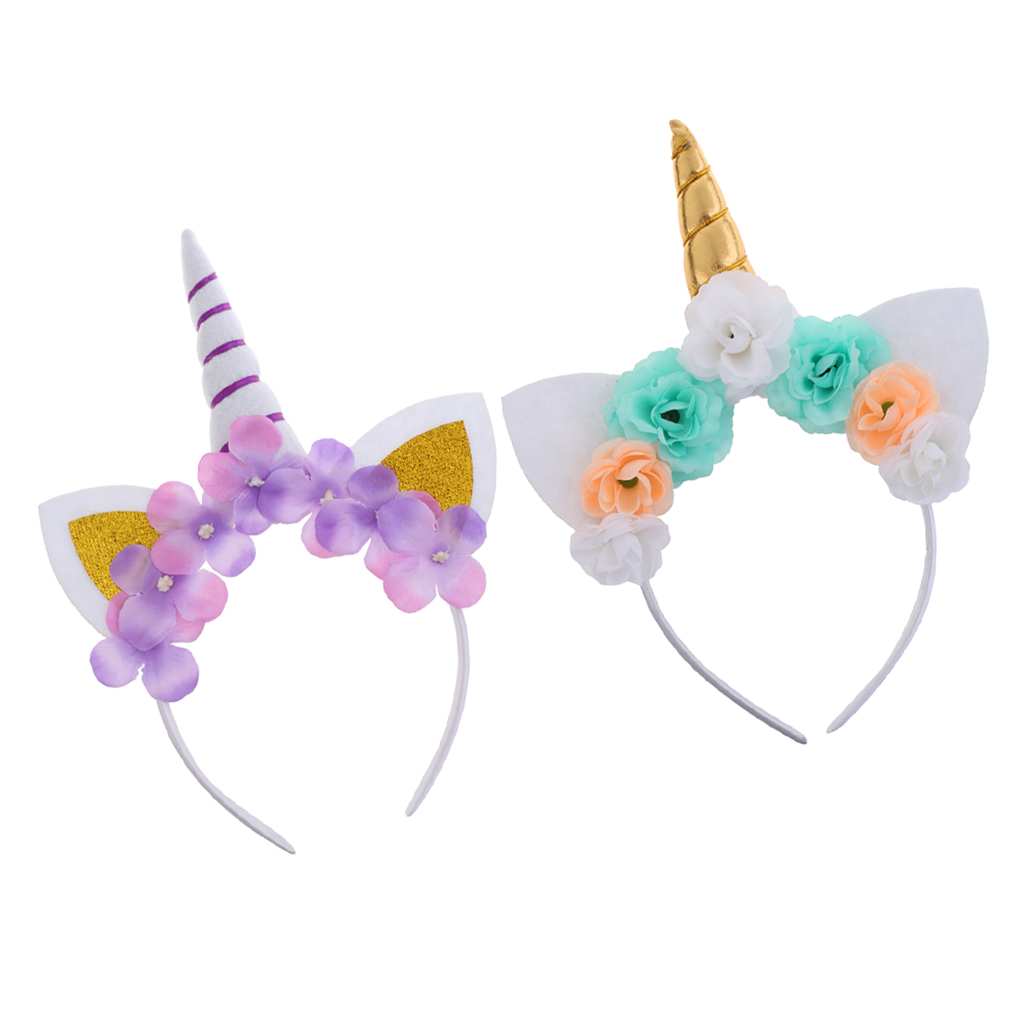 2 предмета бандана с единорогом головной убор цветочными ушами Карнавальный 2pcs Unicorn Horn Headband Flower Ears Headdress Girls Party Cosplay Costume Gift