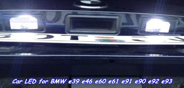 Free Shipping 2x Car Styling Canbus C5W LED License Plate Tag Lights kit Cool white For BMW e39 e46 e60 e61 e91 e90 e92 e93(China (Mainland))