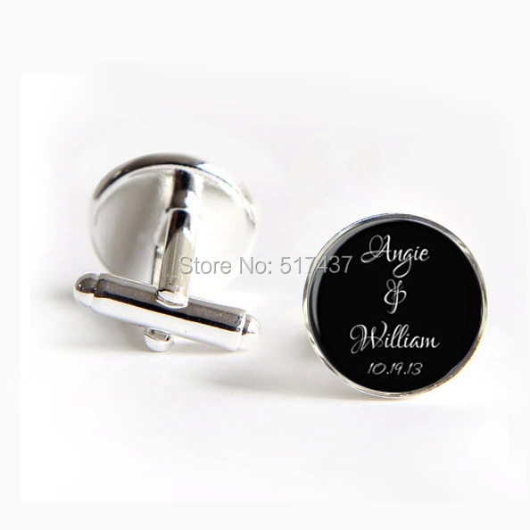 1 pair Free Shipping Men Cufflinks High Quality Married Cufflinks Custom Name And Date Personalized Cufflinks Wedding(China (Mainland))
