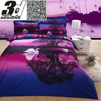 3d swan sunset purple bedding set 4pcs bed sheet Quilt/Duvet/comforter cover pillow Case bed sets Queen size 100 Cotton Fabric