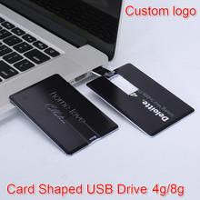Banco do Cartão de Super Slim 64 gb USB Flash Drive 4 GB 8 GB 16 GB 32 GB Memory Stick USB Real Capacidade de Cartão de Crédito Personalizado Seu Logotipo presente(China (Mainland))