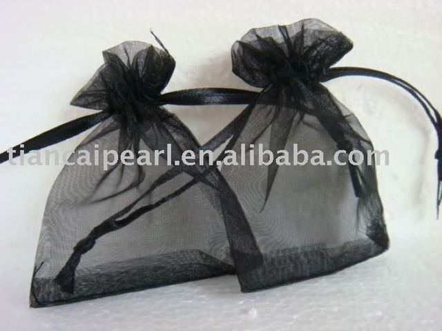 2016---free shipping  100 pcs  wholesale  black   color     Organza Jewelry Wedding Gift Bag